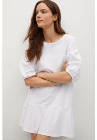 mango - Mango - Sukienka DAILIN. Kolor: biały. Materiał: materiał, bawełna. Typ sukienki: rozkloszowane