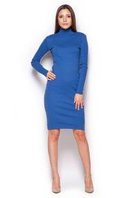 Figl - Niebieska Casualowa Prążkowana Sukienka z Golfem. Okazja: na co dzień. Typ kołnierza: golf. Kolor: niebieski. Materiał: prążkowany. Styl: casual
