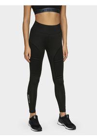 Czarne legginsy sportowe 4f do biegania, z nadrukiem, z podwyższonym stanem