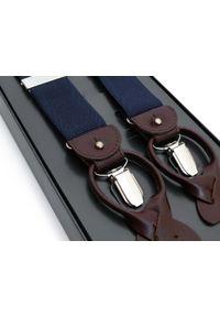Modini - Granatowe szelki do spodni na guziki z brązową skórą G70. Kolor: niebieski, brązowy, wielokolorowy. Materiał: skóra
