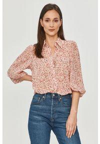 Różowa koszula only na co dzień, casualowa, w kwiaty