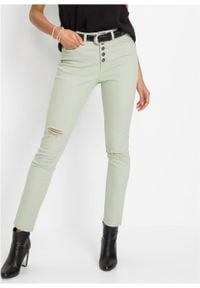Spodnie ze stretchem, highwaist bonprix zielonoszary. Kolor: szary
