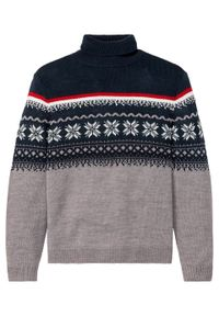 Szary sweter bonprix melanż, z golfem