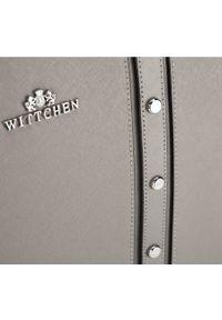 Szara shopperka Wittchen zdobiona, elegancka, z aplikacjami