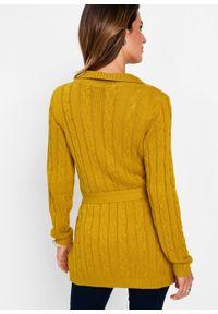 Długi sweter rozpinany bonprix żółty musztardowy. Kolor: brązowy. Długość: długie
