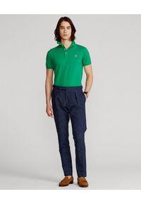 Ralph Lauren - RALPH LAUREN - Zielona koszulka polo Mesh Slim Fit Stretch. Typ kołnierza: polo. Kolor: zielony. Materiał: mesh. Wzór: ze splotem, haft, aplikacja. Sezon: lato. Styl: klasyczny