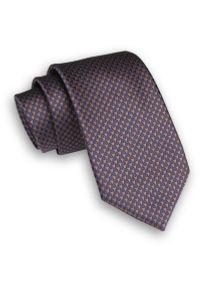 Alties - Brązowo-Granatowy Stylowy Klasyczny Męski Krawat -ALTIES- 7cm, Szeroki, w Pepitkę, Drobny Wzór. Kolor: niebieski, beżowy, brązowy, wielokolorowy. Materiał: tkanina. Styl: klasyczny, elegancki