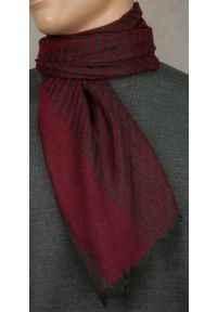 Czerwony szalik Teer na spacer, na jesień, w prążki, elegancki
