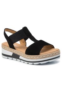 Czarne sandały Gabor casualowe, na co dzień