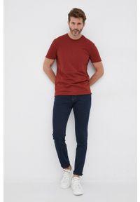 Sisley - T-shirt bawełniany. Okazja: na co dzień. Kolor: brązowy. Materiał: bawełna. Wzór: gładki. Styl: casual