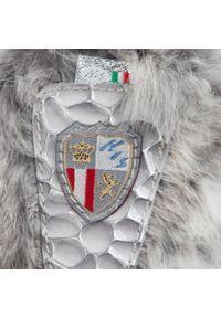 Szary kozaki New Italia Shoes z aplikacjami, z cholewką