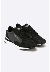 Czarne buty sportowe Calvin Klein Jeans z cholewką, z okrągłym noskiem