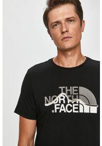 Czarny t-shirt The North Face casualowy, na co dzień, z nadrukiem
