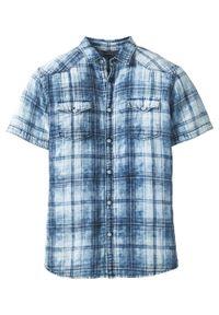 Niebieska koszula bonprix w paski, krótka, z krótkim rękawem