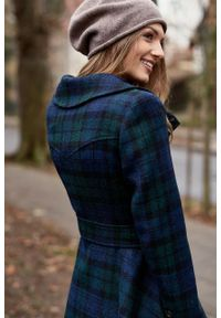 Marie Zélie - Płaszcz Achillea granatowo-zielona krata – wełna Harris Tweed®. Kolor: niebieski, zielony, wielokolorowy. Materiał: wełna