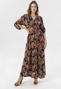 Born2be - Granatowa Sukienka Raidella. Kolor: niebieski. Długość rękawa: długi rękaw. Wzór: kwiaty. Typ sukienki: koszulowe. Styl: elegancki. Długość: maxi