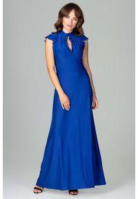 Niebieska sukienka na wesele Katrus z falbankami, maxi