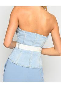 Pinko - PINKO - Jeansowy top Alexa. Kolor: niebieski. Materiał: jeans. Długość rękawa: bez ramiączek. Styl: rockowy