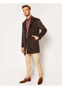 TOMMY HILFIGER - Tommy Hilfiger Tailored Koszula Mercerized Dobby TT0TT08199 Bordowy Slim Fit. Kolor: czerwony
