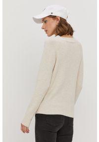 Vero Moda - Sweter. Okazja: na co dzień. Kolor: beżowy. Materiał: dzianina. Długość rękawa: raglanowy rękaw. Styl: casual