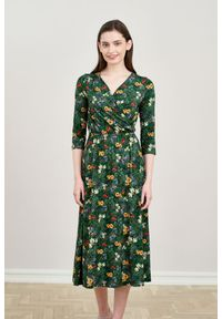Zielona sukienka Marie Zélie z kopertowym dekoltem, prosta, z krótkim rękawem