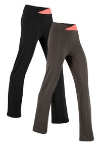 Spodnie sportowe ze stretchem (2 pary), długie, Level 1 bonprix Spodnie sport 2p an.m-cz-pom. Kolor: szary. Długość: długie. Styl: sportowy