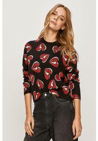 Czarny sweter Love Moschino casualowy, z długim rękawem