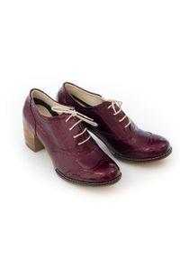 Zapato - sznurowane półbuty na 6 cm słupku - skóra naturalna - model 251 - kolor bordowy lakierowany. Kolor: czerwony. Materiał: skóra, lakier. Obcas: na słupku