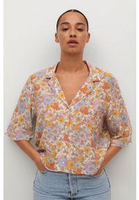mango - Mango - Koszula Niza. Kolor: różowy. Materiał: tkanina. Długość rękawa: krótki rękaw. Długość: krótkie