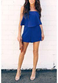 Niebieski kombinezon IVET elegancki, w kolorowe wzory