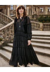 BY CABO - Czarna sukienka ANGELINA. Kolor: czarny. Materiał: jedwab, wiskoza, materiał. Styl: boho, elegancki, glamour