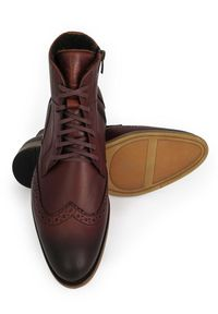 Brązowe buty zimowe Faber na zamek, wizytowe, w ażurowe wzory, na zimę