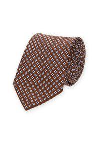 Lancerto - Krawat Brązowy w Kwiatki. Kolor: brązowy. Materiał: tkanina. Wzór: kwiaty. Styl: elegancki