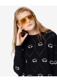 Kenzo - KENZO - Czarny sweter Multi-Eye. Kolor: czarny. Materiał: jeans, wełna. Długość rękawa: długi rękaw. Długość: długie. Wzór: aplikacja