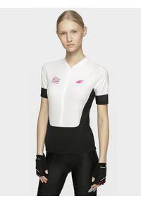 4f - Koszulka rowerowa damska. Kolor: biały. Materiał: jersey, dzianina, włókno. Długość rękawa: raglanowy rękaw. Długość: długie. Sport: kolarstwo