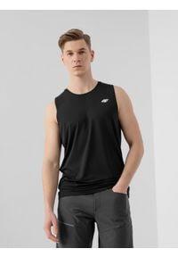 4f - Koszulka treningowa męska. Kolor: czarny. Materiał: skóra, włókno, dzianina. Długość rękawa: bez rękawów. Sport: fitness