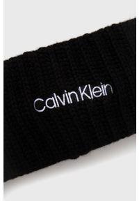Calvin Klein - Opaska z domieszką wełny. Kolor: czarny. Materiał: wełna