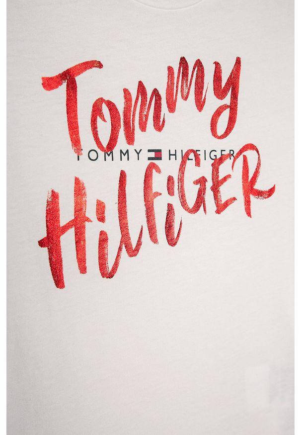 Biała bluzka z krótkim rękawem TOMMY HILFIGER na co dzień, z okrągłym kołnierzem