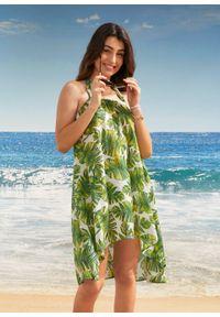 Sukienka plażowa z dekoltem halter bonprix biało-zielono-żółty w roślinny wzór. Okazja: na plażę. Typ kołnierza: dekolt halter. Kolor: biały. Wzór: aplikacja, nadruk