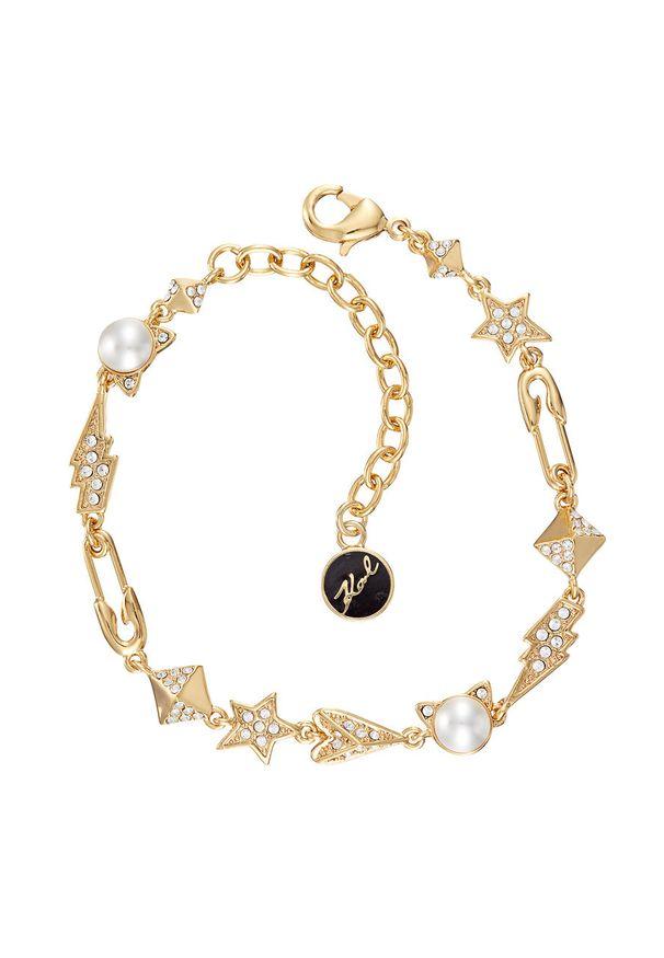 Złota bransoletka Karl Lagerfeld metalowa, z aplikacjami