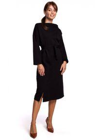 BE - Ciepła kobieca sukienka z bawełnianej dzianiny. Materiał: bawełna, dzianina. Typ sukienki: asymetryczne. Styl: elegancki