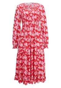 Czerwona sukienka bonprix w kwiaty
