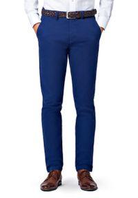 Lancerto - Spodnie Navy Chino Mono II. Okazja: na co dzień. Kolor: niebieski. Materiał: elastan, bawełna, materiał. Wzór: kolorowy. Styl: sportowy, casual