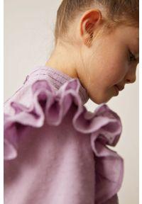 Fioletowa bluzka Mango Kids długa, na co dzień, ze stójką