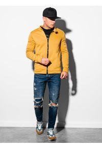 Ombre Clothing - Bluza męska rozpinana bez kaptura B1071 - żółta - XXL. Typ kołnierza: bez kaptura. Kolor: żółty. Materiał: poliester, bawełna