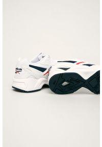 Białe buty sportowe Reebok Classic na obcasie, z cholewką