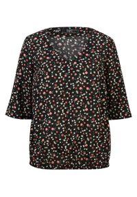 Czarna tunika bonprix krótka, z krótkim rękawem, w kwiaty
