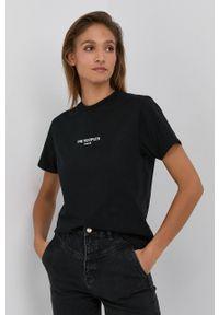 The Kooples - T-shirt bawełniany. Kolor: czarny. Materiał: bawełna. Wzór: aplikacja