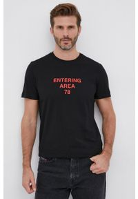 Diesel - T-shirt bawełniany. Kolor: czarny. Materiał: bawełna. Wzór: nadruk
