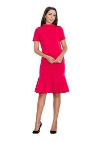 Figl - Czerwona Ołówkowa Spódnica Midi z Falbanką. Kolor: czerwony. Materiał: wiskoza, poliester